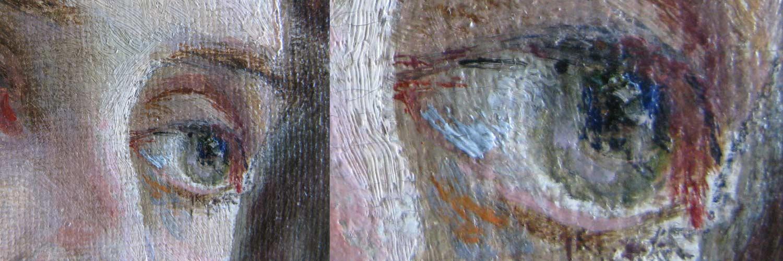 Détail d'une peinture en cours de restauration.