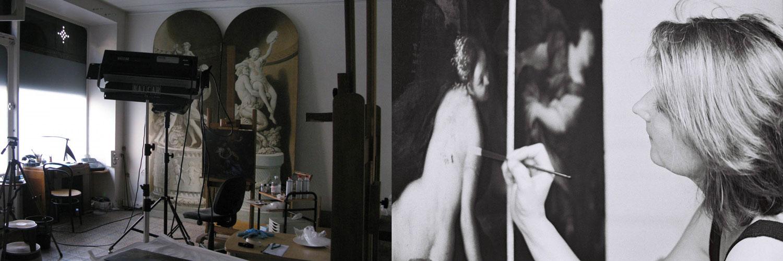 L'atelier Ella Tushinsky de conservation-restauration de peintures, rue Carpeaux à Paris (75018)